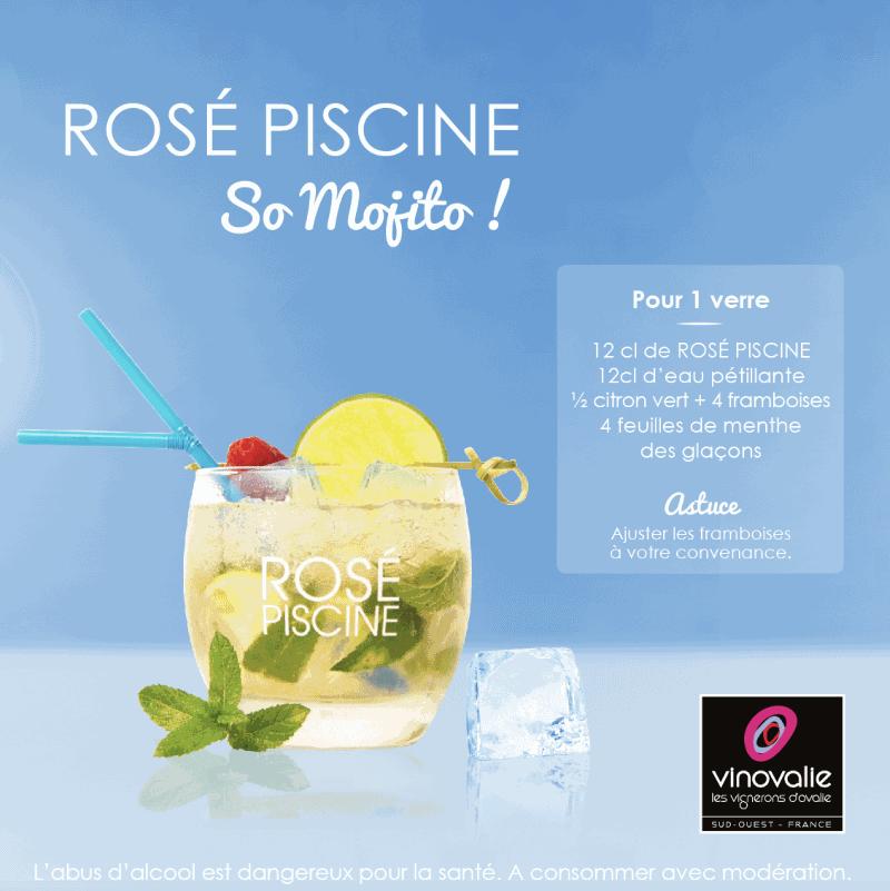 Cocktail rose piscine mojito