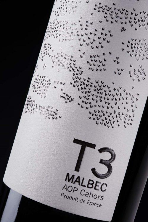 Etiquette T3 9 terroirs Cahors Malbec