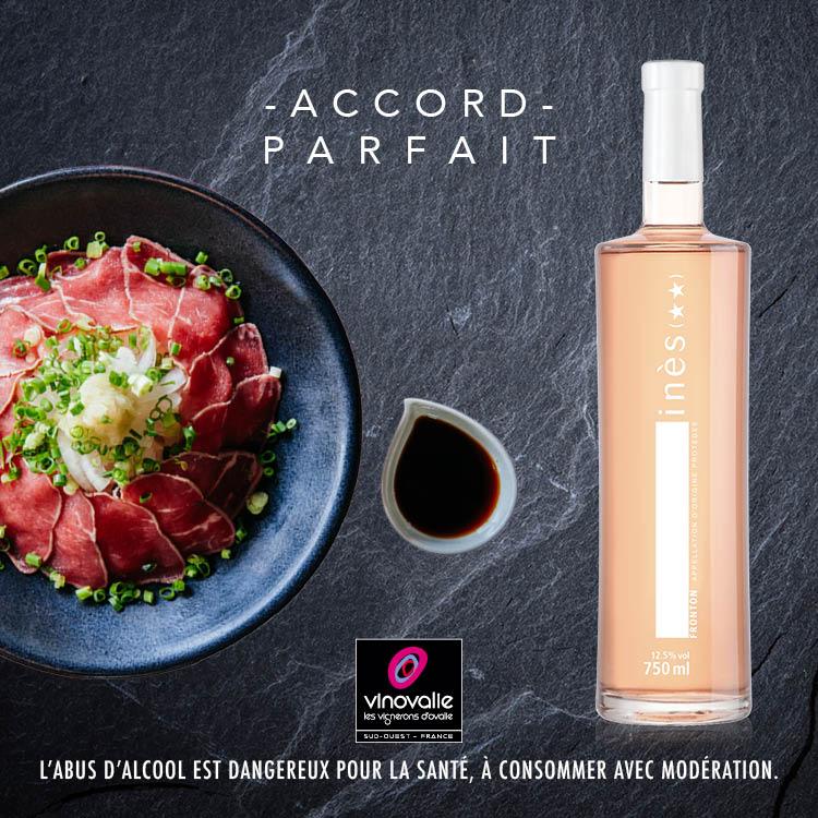 Inès, vin rosé avec un tataki de boeuf